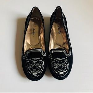 ABS by Alan Schwartz black velvet loafer w tiger
